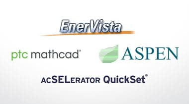 logos for EnerVista, SEL, Aspen and pfc mathcad